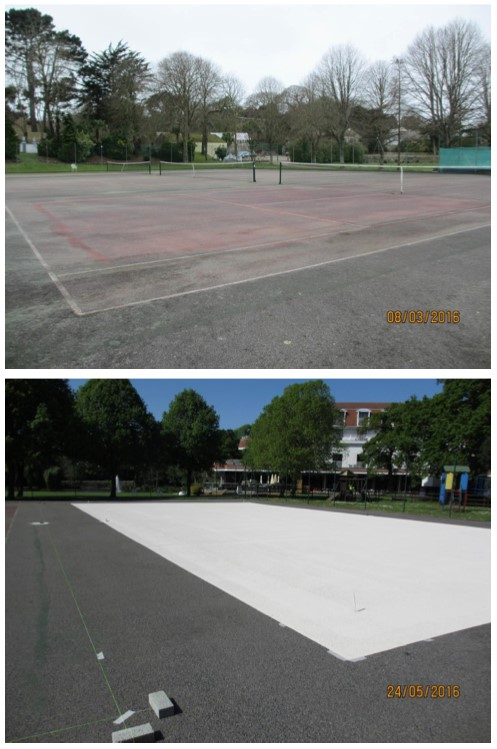 tennis court paint for Guernsey
